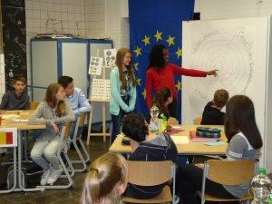 (v.li.n.re.): Die Schülerinnen Celina Biesgen und Gabriella Duruh berichten von ihrem Besuch im Brüsseler Plenarsaal
