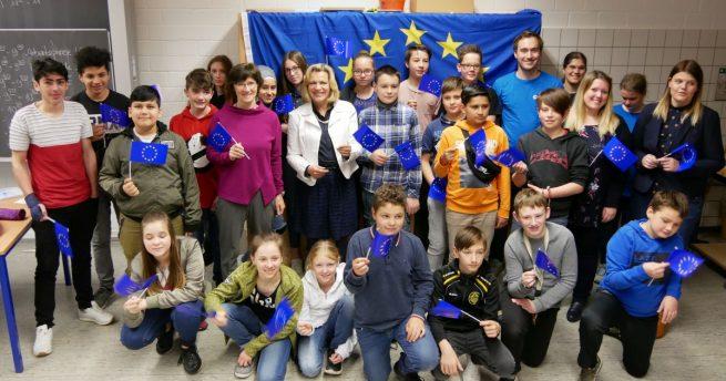 Europawoche an der Maria-Sibylla-Merian Gesamtschule Kohlscheid – Landtagsabgeordnete Eva-Maria Voigt-Küppers zu Gast