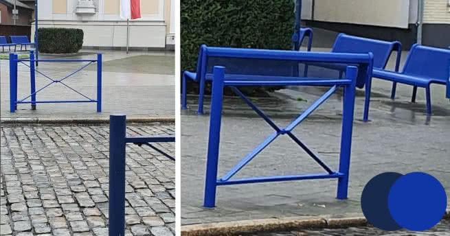 Neues Blau? Neuanstrich der Stadtmöblierung auf dem Markt